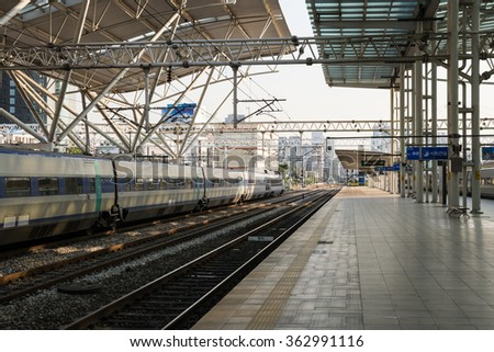 SEOUL, KOREA - OCTOBER 6, 2015: Seoul train Station platform, South Korea.