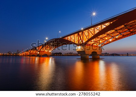 SEOUL, Seongsan bridge at night in South Korea.