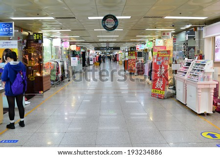 Seoul, South Korea - April 18, 2014: Retail Shops inside of Metropolitan Subway in Seoul. There are lots of fashion shops i.e. cloths, cosmetic, watch etc. - stock photo