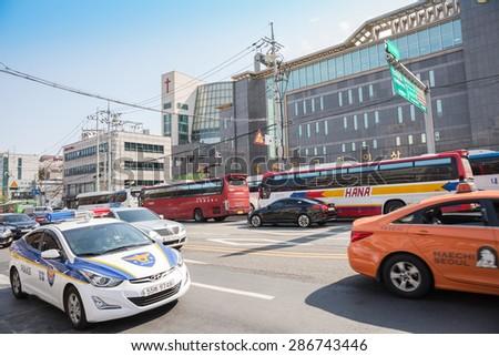 SEOUL, SOUTH KOREA - APRIL 14 : The traffic road in downtown in capital city on April 14,2015 in Seoul South Korea.  - stock photo