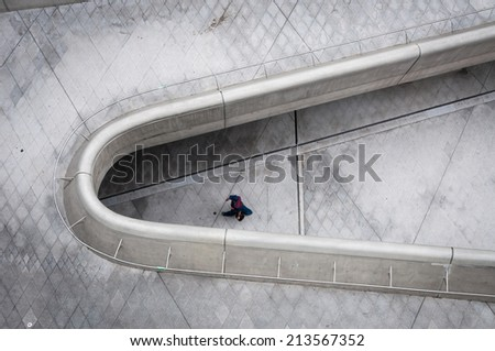 SEOUL, SOUTH KOREA - AUGUST 24: Architectural detail of the new Dongdaemun Design Plaza in Seoul, designed by world famous architect Zaha Hadid. Photo taken August 24, 2014 in Seoul, South Korea. - stock photo