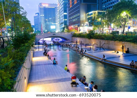 Seoul, South Korea - August 7, 2017: See Cheonggyecheon Stream In Seoul people relax. Cheonggyecheon stream