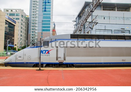 SEOUL, SOUTH KOREA - June 21, 2014 KTX is a hi-speed train in Seoul Station June  21, 20143  in Seoul, KR. The station is the terminus for the country's high-speed rail KTX. - stock photo