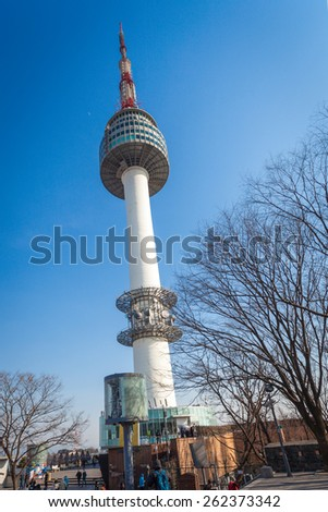 SEOUL, SOUTH KOREA - MARCH 07: Namsan Tower, also known as North Seoul Tower, is a famous landmark in Seoul, South Korea. Photo taken March 07, 2014 in Seoul, South Korea. - stock photo
