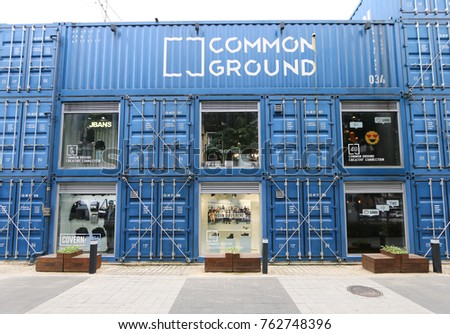 SEOUL, SOUTH KOREA : NOVEMBER 02, 2017 : Common Ground Mall,  is South Korea's first and the world's largest container shopping mall complex built with 200 shipping containers.