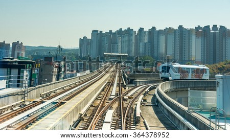 Seoul, South Korea - October 25, 2015: View of fully automated Driverless guided transits (AGT)  Yongin Everline Metropolitan Subway in Seoul. - stock photo