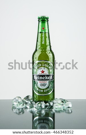 Seoul, South Korea - September 12, 2014: Heineken Lager Beer is the flagship product of Heineken International which owns over 125 breweries in more than 70 countries