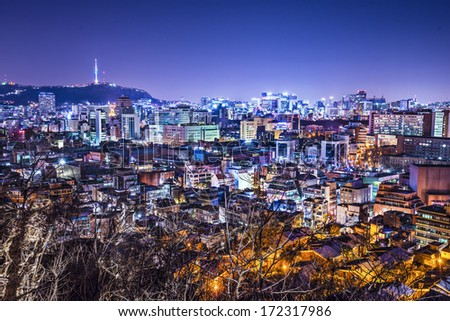 Seoul, South Korea skyline with Namsan Mountain and Seoul Tower. - stock photo