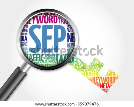 SEP - Search Engine Positioning Key word cloud with magnifying glass, business concept - stock photo
