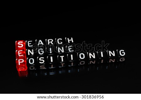 SEP Search Engine Positioning text written  on cubes ob black - stock photo