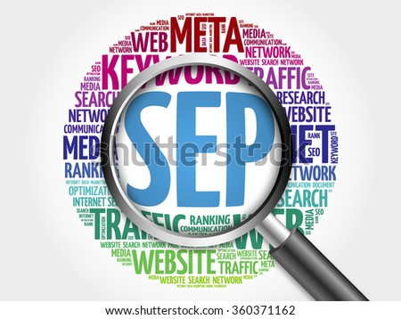 SEP - Search Engine Positioning word cloud with magnifying glass, business concept - stock photo