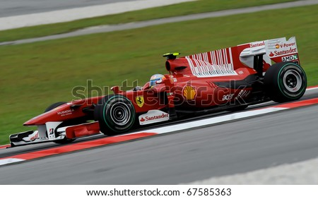 SEPANG, MALAYSIA - APRIL 2 : Ferrari Team Driver, Fernando Alonso action on track in Petronas Formula One 2010 at Sepang circuit. April 2, 2010 in Sepang, Malaysia