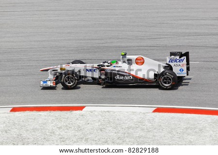 SEPANG, MALAYSIA - APRIL 8: Sergio Perez (team Sauber) at first practice on Formula 1 GP, April 8 2011, Sepang, Malaysia - stock photo
