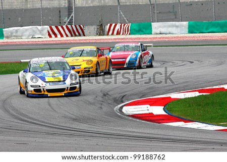 SEPANG, MALAYSIA - DECEMBER 5: A participant's in action at the Sepang International Circuit during the MHH Super Series Round 5 on December 5, 2009 in Sepang, Malaysia. - stock photo