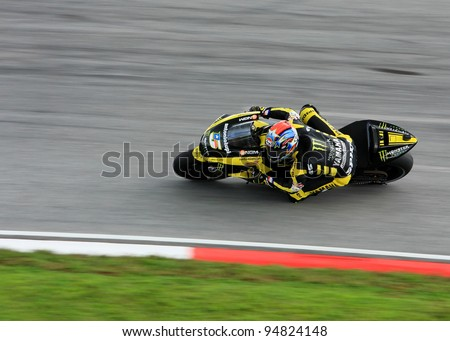 SEPANG, MALAYSIA-FEB 24: Colin Edwards of Monster Yamaha Tech 3 at MotoGP Official Test Sepang 2 on Feb 24, 2011 in Sepang, Malaysia. - stock photo