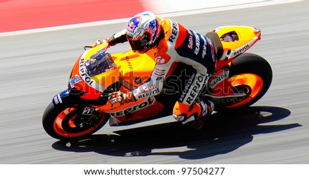 SEPANG, MALAYSIA-FEBRUARY 28 : Australian Casey Stoner of Repsol Honda Team at 2012 MotoGP Official Winter Test Sepang 2 on Feb. 28, 2012 in Sepang, Malaysia. - stock photo
