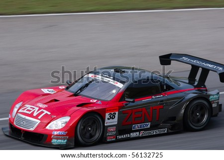 SEPANG, MALAYSIA - JUNE 21: The Zent Cerumo SC430 (38) in action during the Super GT International Series Round 4 race. June 21, 2010 in Sepang Malaysia.