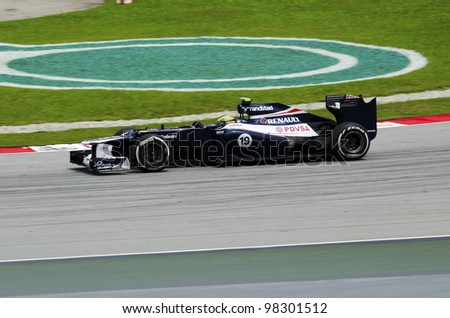 SEPANG, MALAYSIA - MARCH 23: Bruno Senna (team Williams Renault) at second practice on Formula 1 GP, March 23 2012, Sepang, Malaysia - stock photo