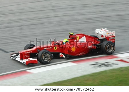 SEPANG, MALAYSIA - MARCH 24: Ferrari Team driver Felipe Massa action on track during Petronas Malaysian Grand Prix qualifying session at Sepang F1 circuit on March 24, 2012 in Sepang, Malaysia