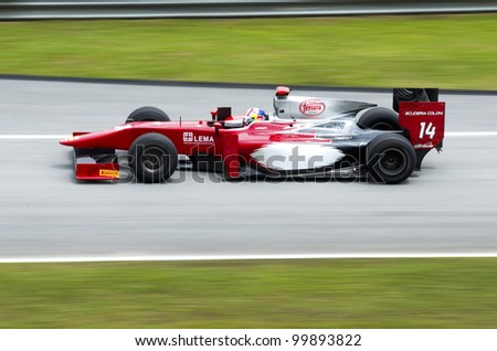 SEPANG, MALAYSIA-MARCH 23 : GP 2 series driver Stefano Coletti of Scuderia Coloni team races during the first practice session on March 23, 2012 at Sepang International Circuit in Sepang, Malaysia.
