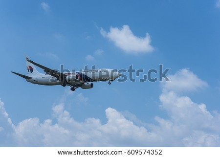SEPANG, MALAYSIA - MARCH 25, 2017: Malaysia airlines plane Boeing 777, aircraft approaches runway for a landing at KLIA airport on March 25, 2017 in KLIA, Sepang, Malaysia.