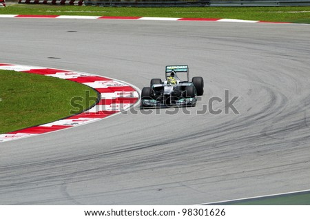 SEPANG, MALAYSIA - MARCH 23: Nico Rosberg (team Mercedes Petronas) at second practice on Formula 1 GP, March 23 2012, Sepang, Malaysia