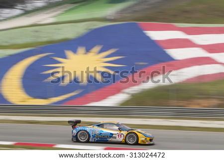 Sepang, Malaysia - September 4, 2015 : Italian Ferrari Car No 11 exits turn 2 at Asian Festival of Speed Race, Sepang, Malaysia  - stock photo