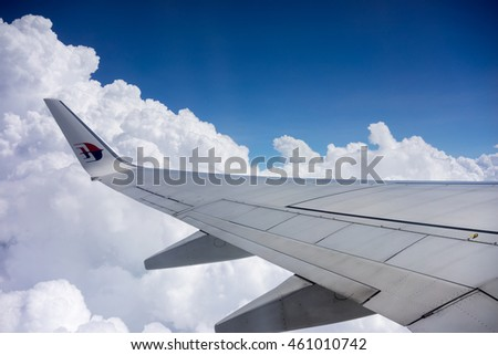 SEPANG, MALAYSIA - 18TH JULY, 2016 : View from window of Malaysia Airline flight inbound to Kota Bharu from Kuala Lumpur International Airport (KLIA). KLIA is the main airport of Malaysia.