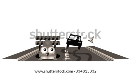 Sepia car skidding to avoid worker at road works - stock photo