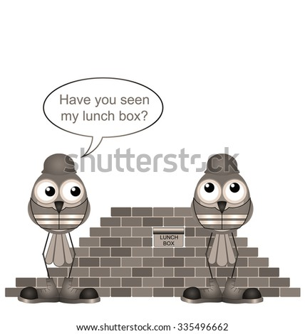 Sepia comical construction workers and missing lunchbox - stock photo