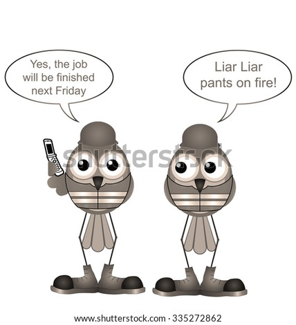 Sepia comical construction workers lying to a client - stock photo