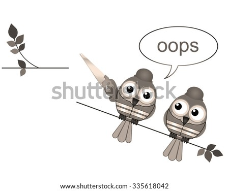 Sepia comical construction workers standing on the wrong side cutting a branch - stock photo