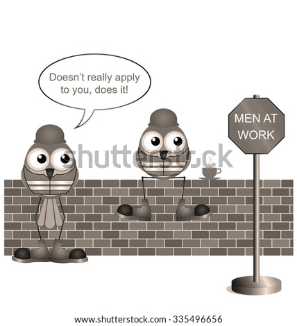 Sepia comical construction workers with men at work sign - stock photo