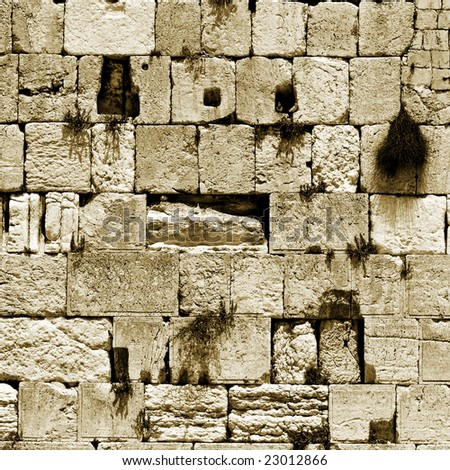 sepia cut out of the wailing western wall, jerusalem, israel - stock photo