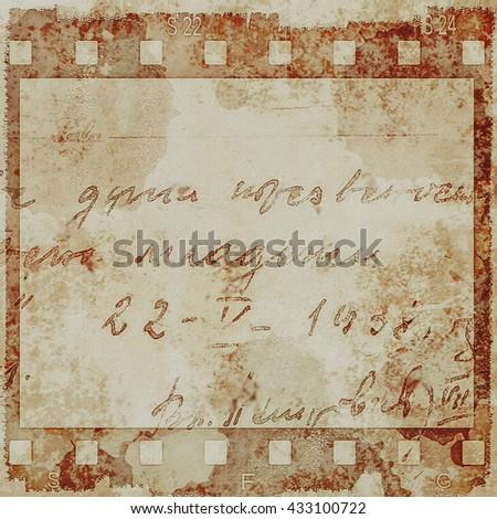 sepia film strip grunge background, texture - stock photo
