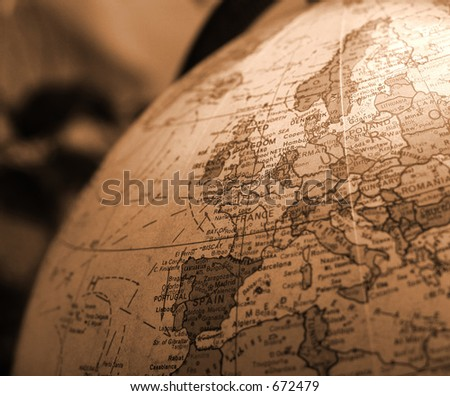 Sepia Globe - stock photo