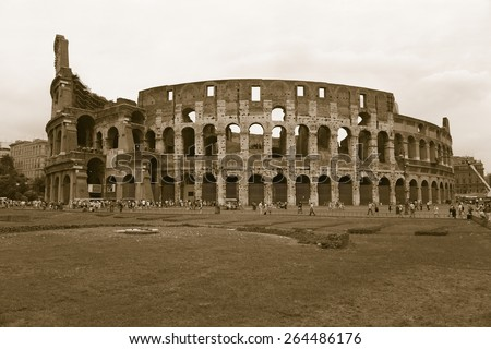 Sepia image of the Colosseum or Roman Coliseum, originally the Flavian Amphitheatre, an elliptical amphitheatre in the centre of the city of Rome, Rome, Italy, Europe
