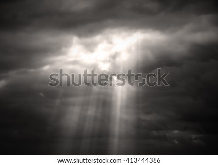 Sepia monochrome picture clouds sky sunset and sunrise, black and white - stock photo