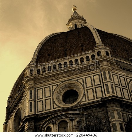 Sepia Picture of the Dome of the Basilica Santa Maria del Fiore or Duomo, Florence, Italy - stock photo