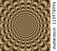Sepia Psychedelic Pulse/Digital abstract image with a psychedelic circular pattern in sepia coloring producing an optical illusion of movement. - stock photo
