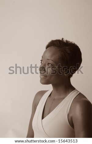 Sepia tone of sophistaced black woman - stock photo