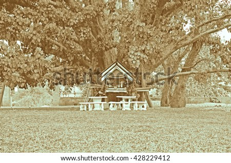 Sepia tone of the old Spirits house,Ceremonial shrine,Spirit House under the big tree. - stock photo
