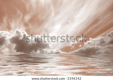 Sepia tone on clouds reflected  over the water - stock photo