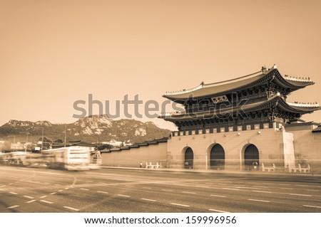 Sepia toned image of Gyeongbokgung Palace in Seoul, South Korea. - stock photo