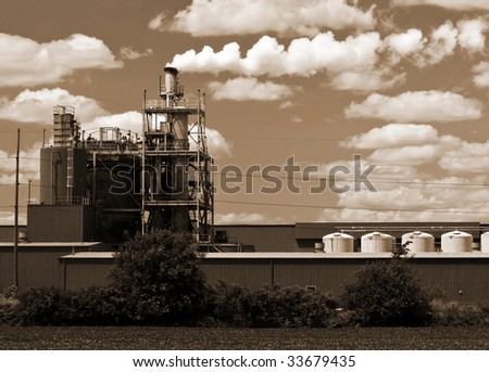 Sepia toned Industrial smoke stack