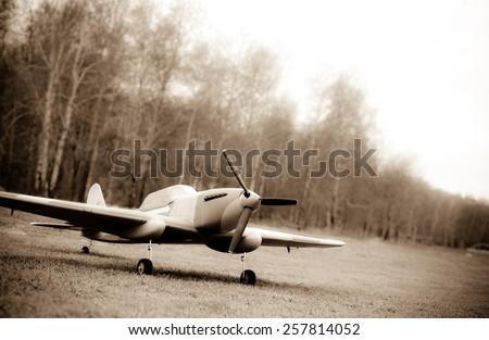 Sepia toned photo of IL-2 radiomodel - stock photo