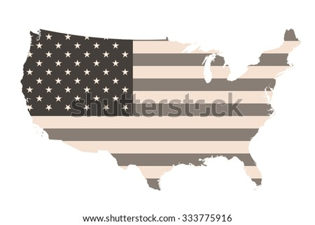 Sepia United States of America flag overlaid on outline map  - stock photo