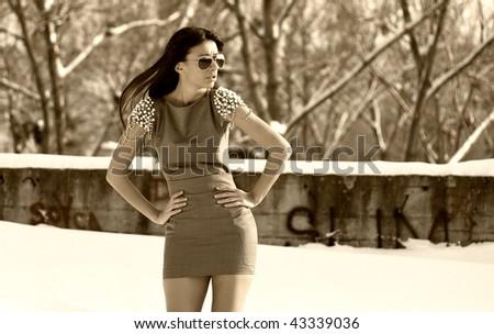 Sepia winter fashion - stock photo