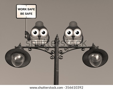 Sepia work safe be safe health and safety message with construction worker birds wearing personal protection equipment perched on a lamppost - stock photo
