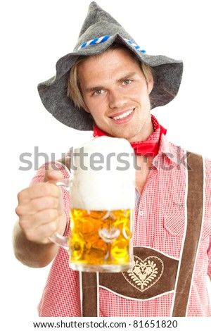seppl with beer - stock photo